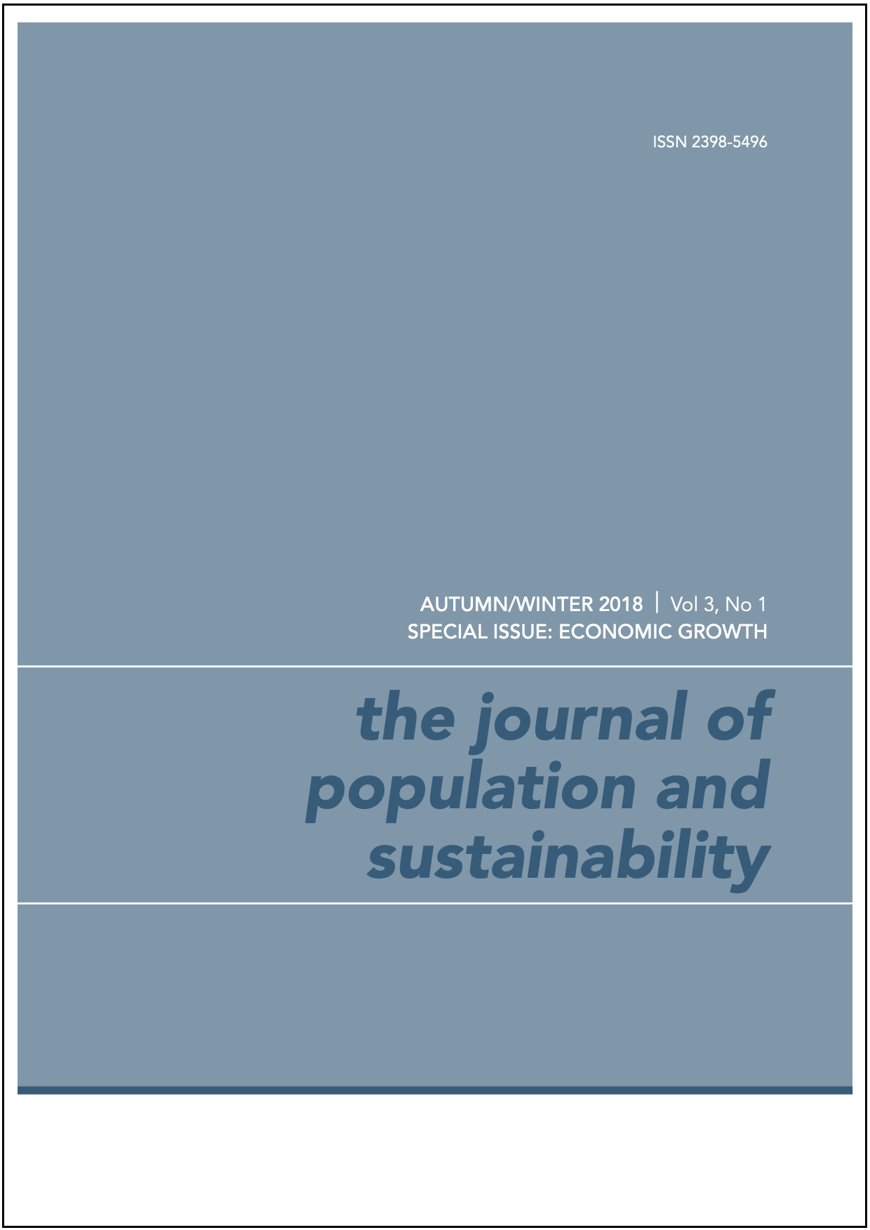 This image of the cover of this issue of The Journal of Population and Sustainability has the title in block letters on a grey-green background.
